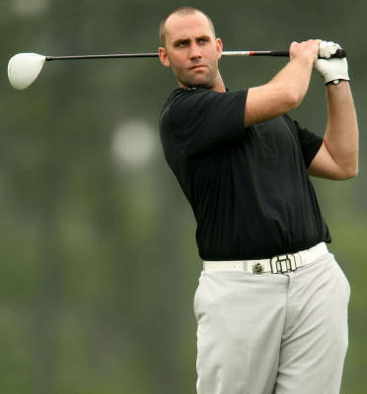 Texans quarterback Matt Schaub took his mind off the NFL lockout for a while Monday to showcase his golf game in the Shell Houston Open pro-am at Redstone Golf Club.