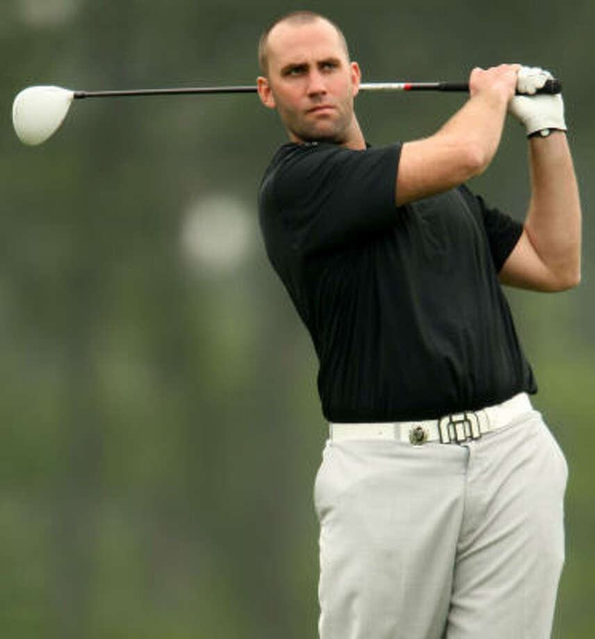 Texans quarterback Matt Schaub took his mind off the NFL lockout for a while Monday to showcase his golf game in the Shell Houston Open pro-am at Redstone Golf Club. Photo: ERIC CHRISTIAN SMITH, For The Chronicle