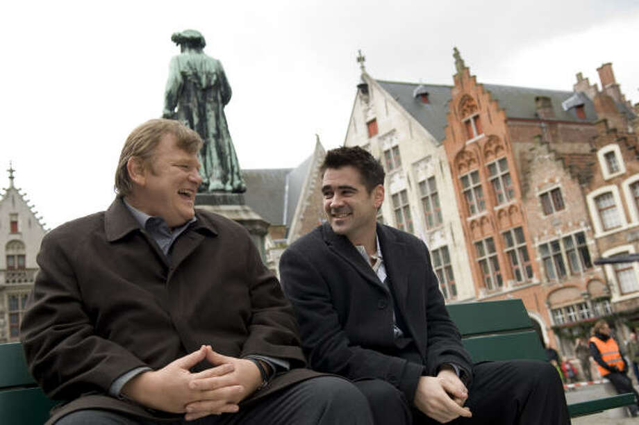 Brendan Gleeson, left, and Colin Farrell portray hitmen in In Bruges. Photo: AP