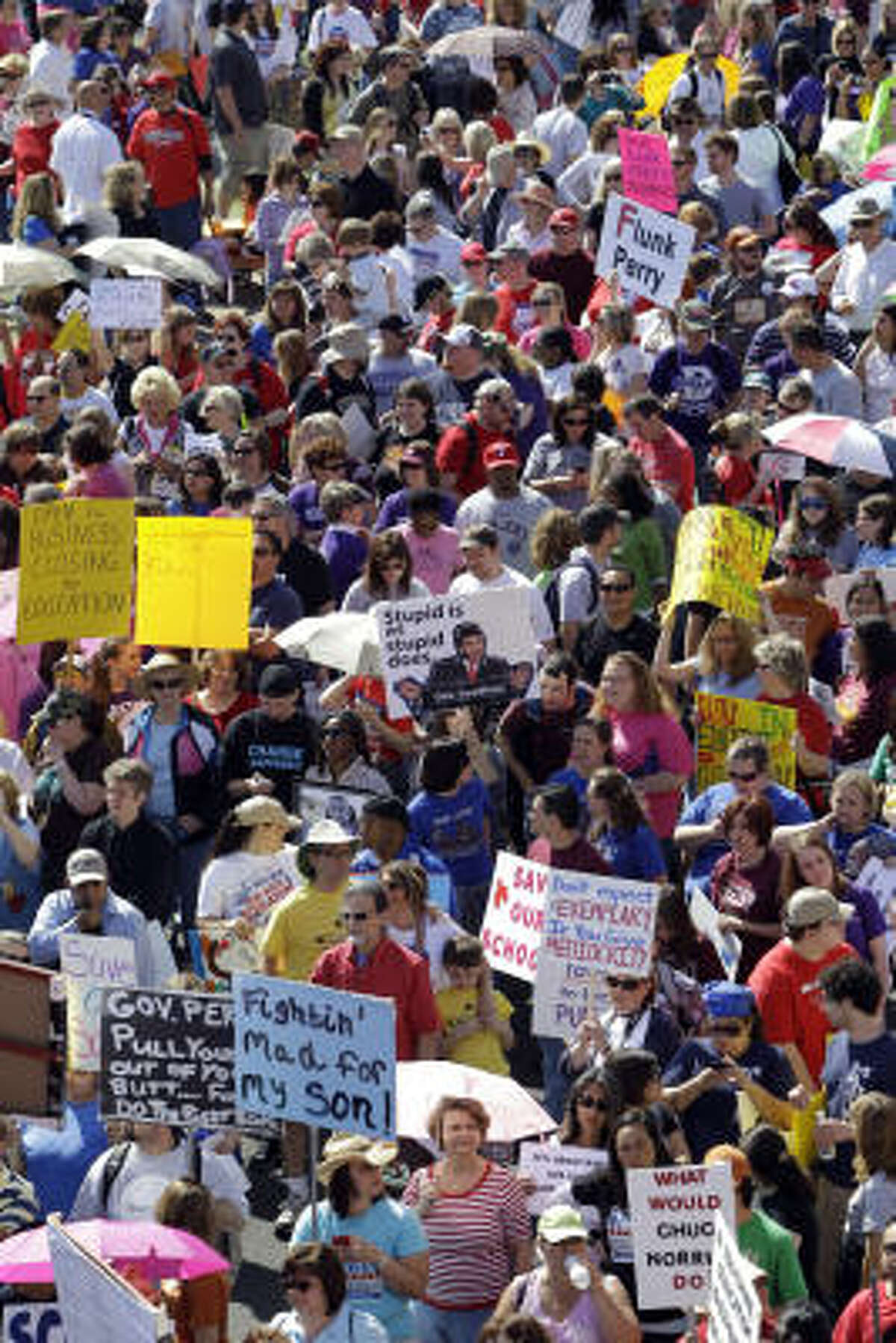Rally organizers said at least 11,000 demonstrators gathered Saturday at the Texas Capitol, all had the same message: Don't balance the state's books on the backs of students.