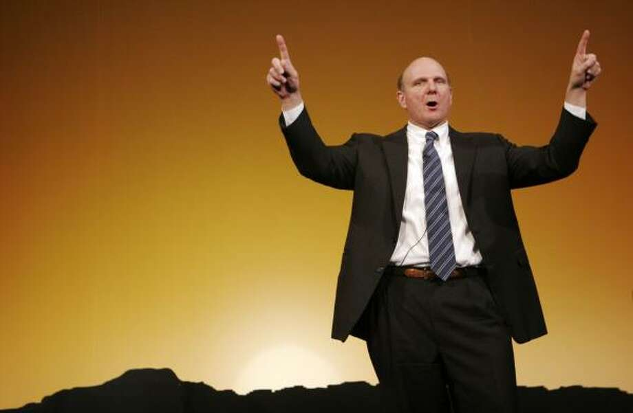 Steve Ballmer, CEO of Microsoft, introduces Windows Vista at an event for business users in New York on Jan. 16. The company's next generation of its operating system will be available to consumers on Tuesday. Photo: MARK LENNIHAN, ASSOCIATED PRESS