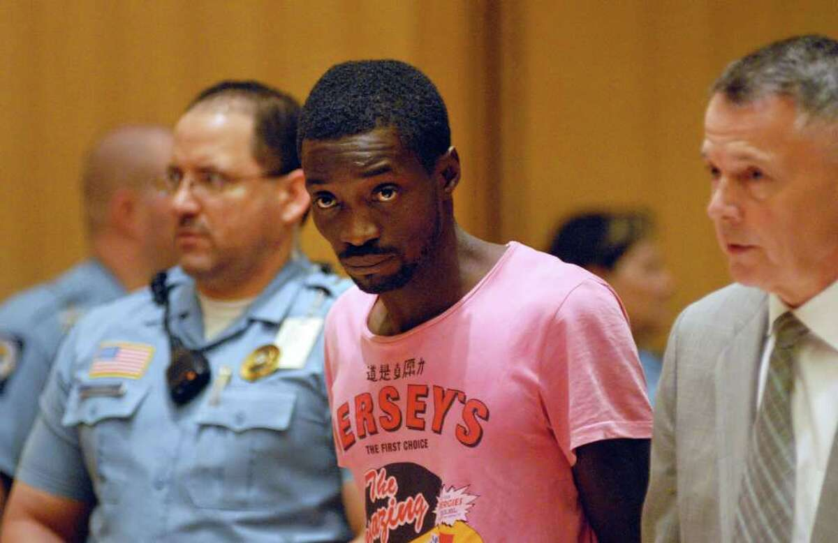 Rayon Hines is arraigned at Stamford Superior Court in Stamford, Conn. on Friday July 22, 2011 for allegedly stabbing 16-year-old Romario