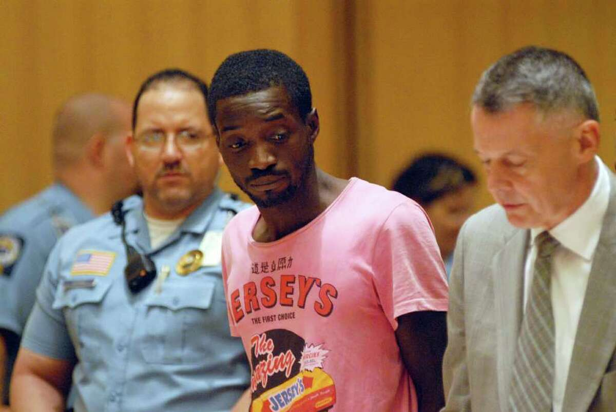 """Rayon Hines is arraigned at Stamford Superior Court in Stamford, Conn. on Friday July 22, 2011 for allegedly stabbing 16-year-old Romario """"Mario"""" Marchant, a Jamaican native who lived in the Bronx, N.Y."""