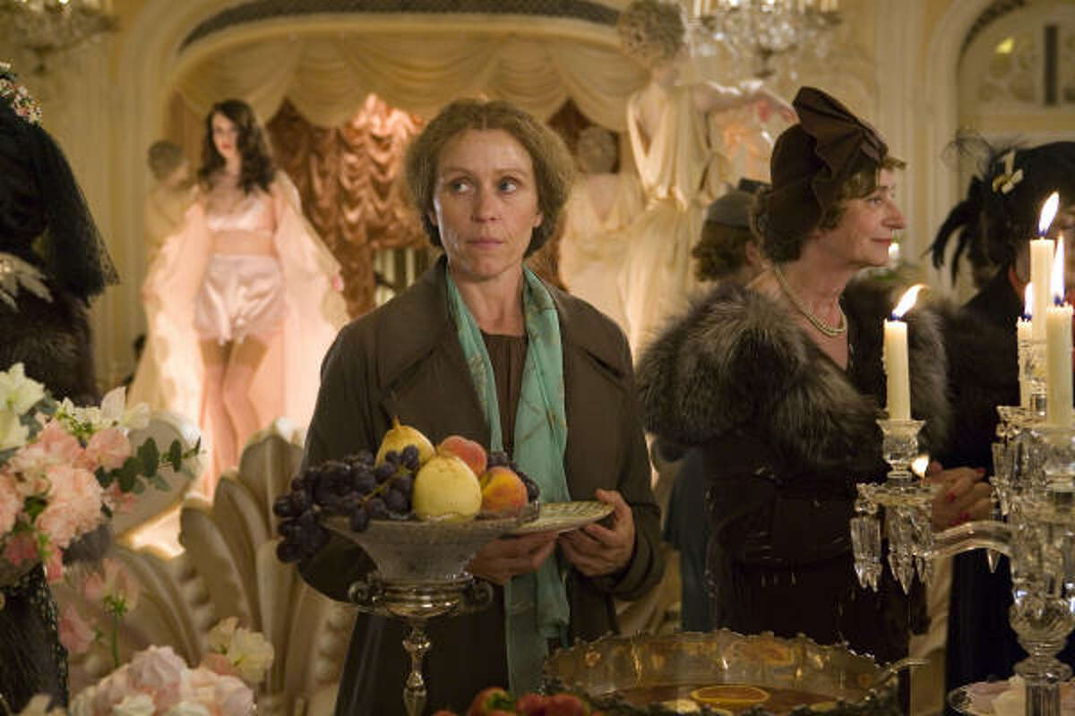 Frances McDormand stars as unemployed governess Miss Pettigrew in Miss Pettigrew Lives for a Day.