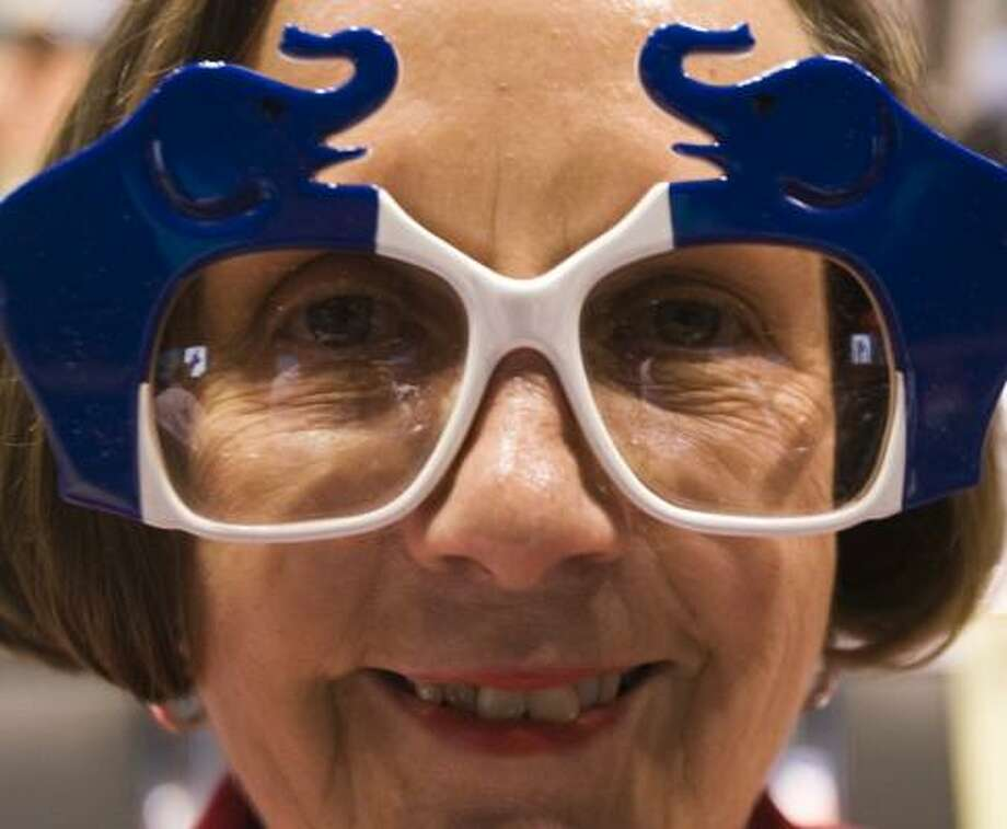 Eleanor Smith, of Midland County, wears her GOP-themed glasses at the Texas Republican Party Convention at the George R. Brown Convention Center on Saturday. Photo: BRETT COOMER, CHRONICLE