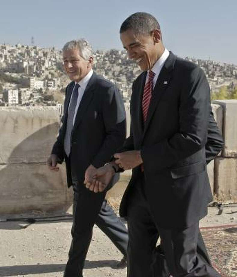 Democratic presidential candidate Sen. Barack Obama, D-Ill., right, walking with Sen. Chuck Hagel, R-Neb., as they tour the citadel in Amman, Jordan, on July 22. Talk of Hagel as a potential running mate for Obama tends to confound partisans in both parties. Photo: Jae C. Hong, AP