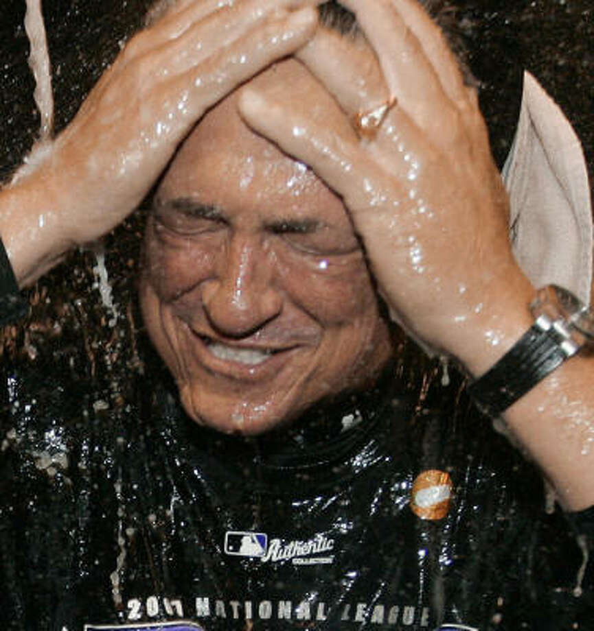 Odds are good you might have missed the postgame party with the Rockies and Clint Hurdle if you live in Houston. Photo: Jack Dempsey, AP