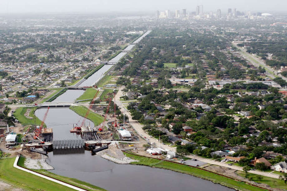 An aerial view of the new construction work being performed on the London Avenue Canal. Experts say the stronger levees and flood walls could funnel storm water into the cul-de-sac of the Industrial Canal, a waterway only 2 miles from Bourbon Street. Photo: Chris Graythen, AP
