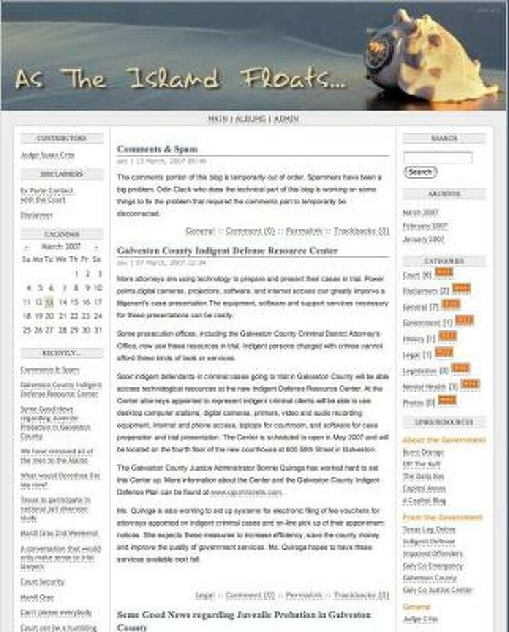 State District Judge Susan Criss, whose jurisdiction is Galveston County, posts this blog. Photo: Www.astheislandfloats.com/