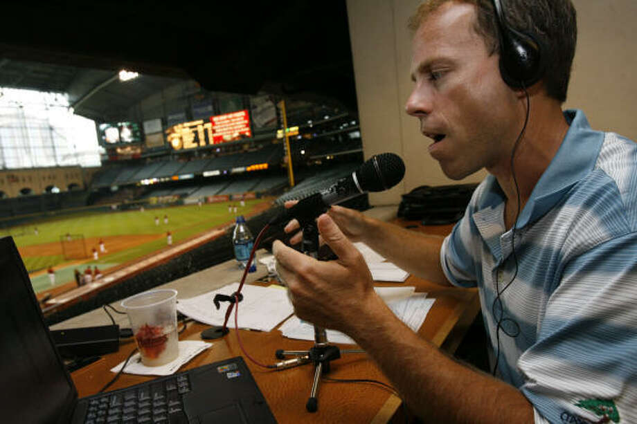 790 AM's Charlie Palillo during his radio show live  at Minute Maid Park on July 25, 2007. Photo: Melissa Phillip, HOUSTON CHRONICLE