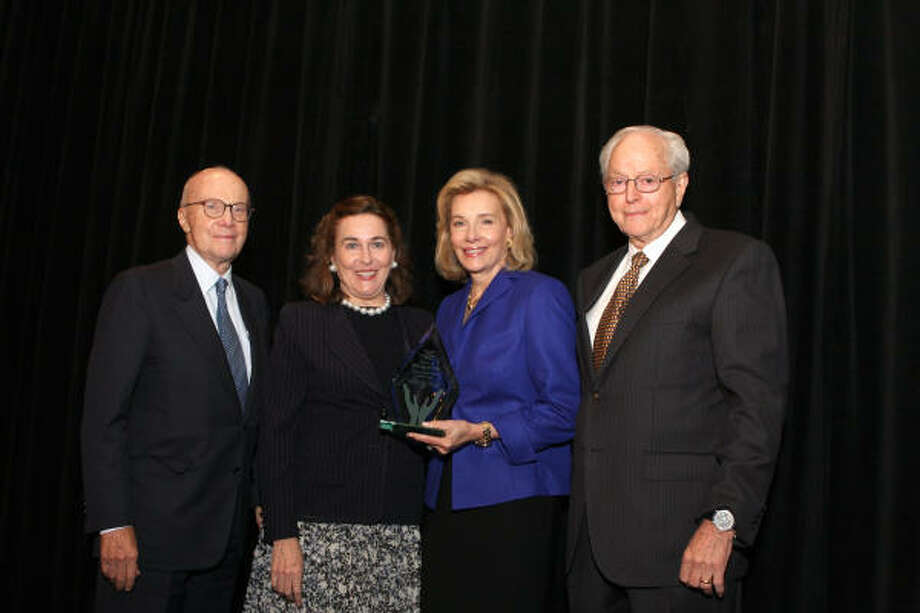 Honorees Barbara and Gerald Hines, left, with event co-chairs Brenda and John Duncan Photo: Kim Coffman