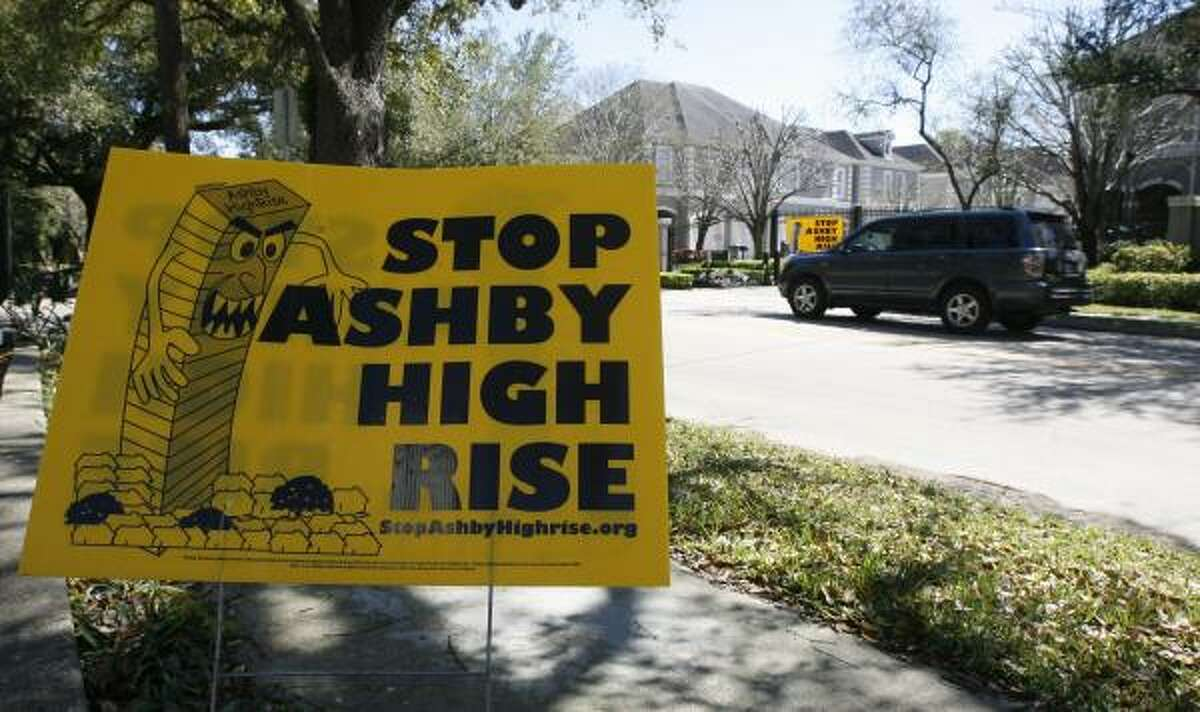Opponents of the proposed Ashby high-rise have posted signs throughout the neighborhood illustrating their position.