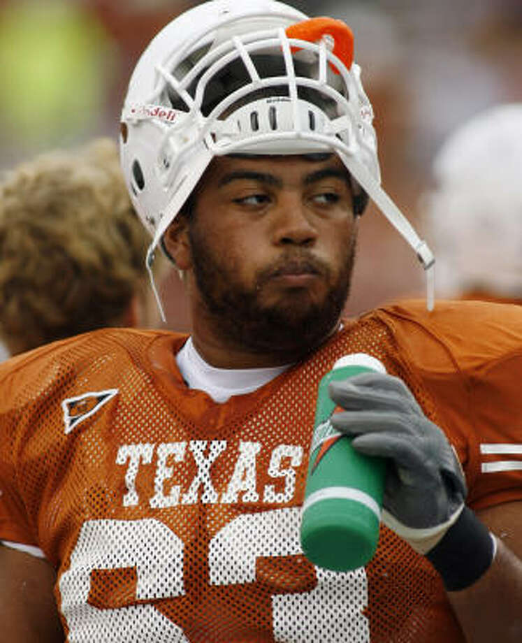 Texas offensive lineman Justin Blalock could have left for the NFL after the Longhorns won a national title, but he returned for his senior season and has started a school-record 50 straight games. Photo: HARRY CABLUCK, AP