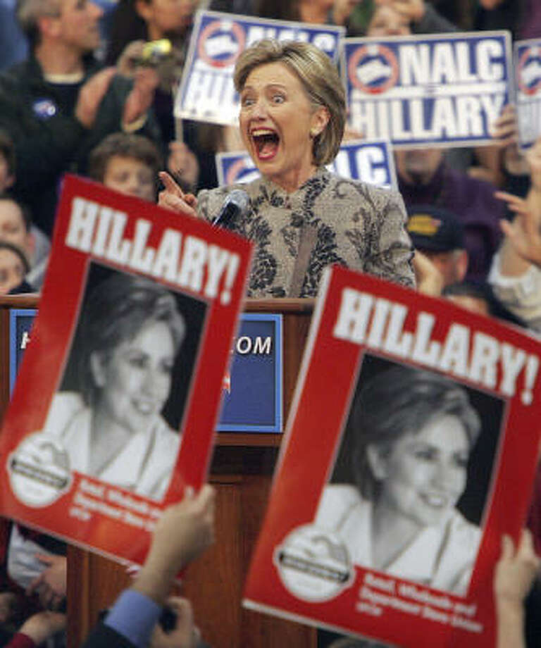 Despite polls showing a huge lead for Barack Obama, Hillary Clinton was the winner of the New Hampshire primary. Photo: Jim Cole, AP