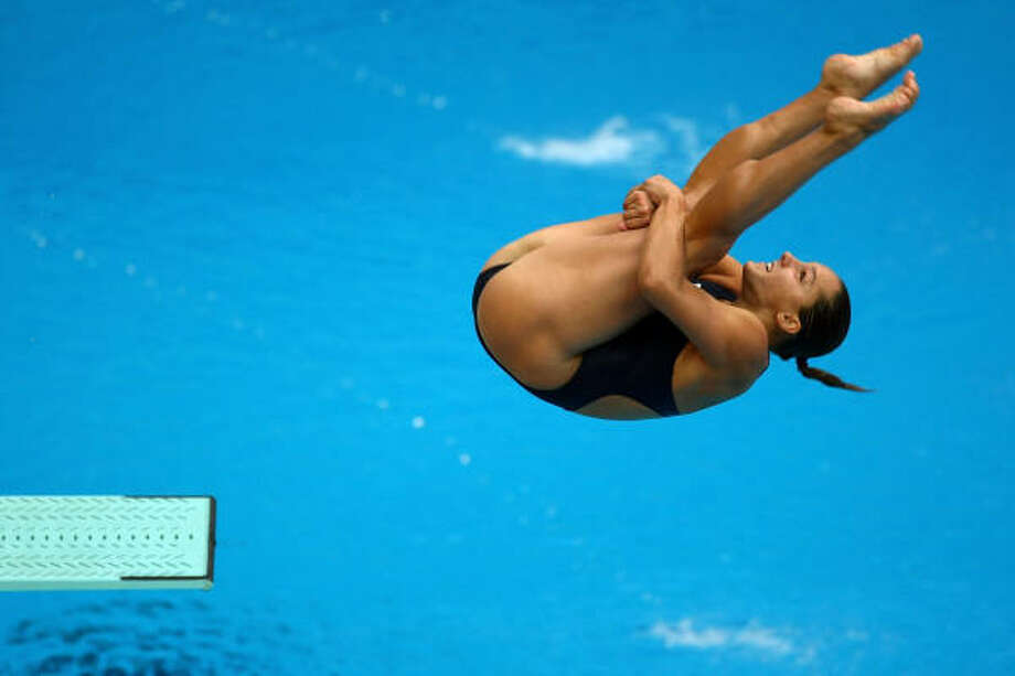 Nancilea Foster dives in the Women's 3m Springboard Preliminary held at the National Aquatics Centre during Day 7 of the Beijing 2008 Olympic Games. Photo: Lars Baron, Bongarts/Getty Images