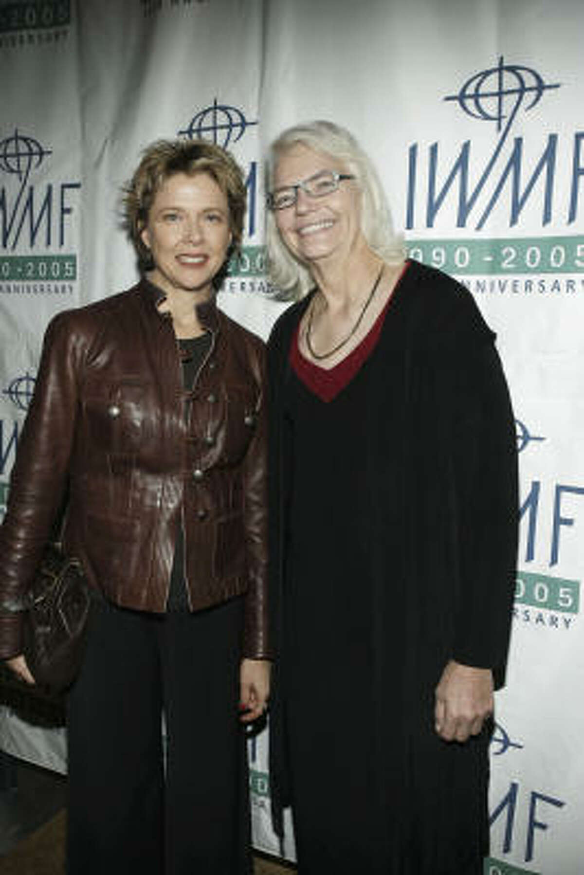 Actress Annette Bening and columnist Molly Ivins attend The International Women's Media Foundation's 2005 Courage In Journalism Awards on Nov. 2, 2005, in Beverly Hills, Calif.