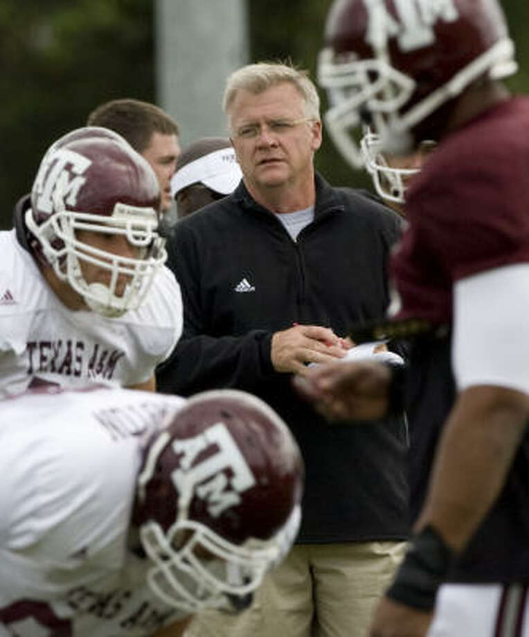 Texas A&M coach Mike Sherman runs spring practice Thursday in College Station. Photo: Brett Coomer, Chronicle