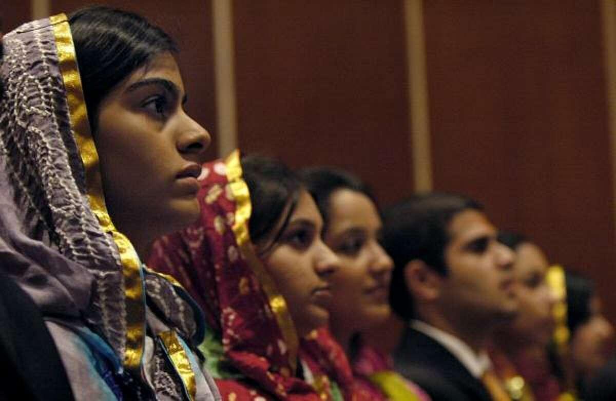 Choir members from the Ismaili Muslim community of Houston attend Milad-an-Nabi, a birthday celebration for Muhammad, at Rice University. From left are Zohra Ali, Salima Porbanderwala, Sameera Momin, Faheem Inayatali, Mahevish Virani and Shehla Sadruddin.