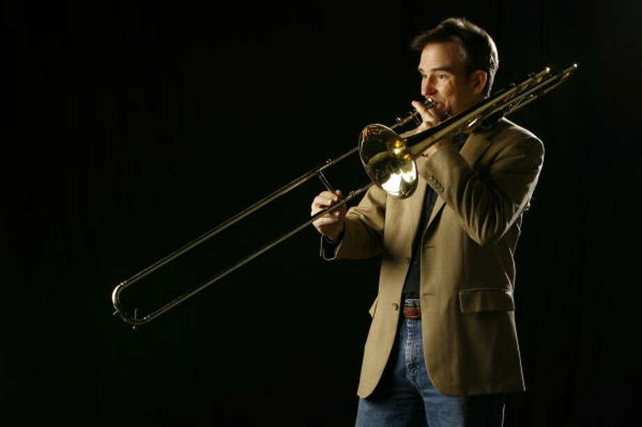 Houston Symphony principal trombonist Allen Barnhill is the soloist for Solstice for trombone and orchestra. Photo: Melissa Phillip, Chronicle