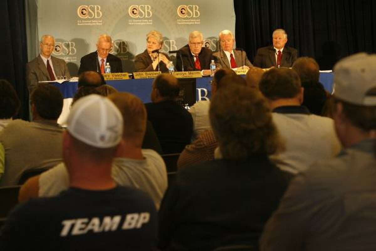 200 people attended an evening hearing hosted by the U.S. Chemical Safety and Hazard Investigation Board, which earlier in the day released its final report on the accident that killed 15 and injured 180 people.