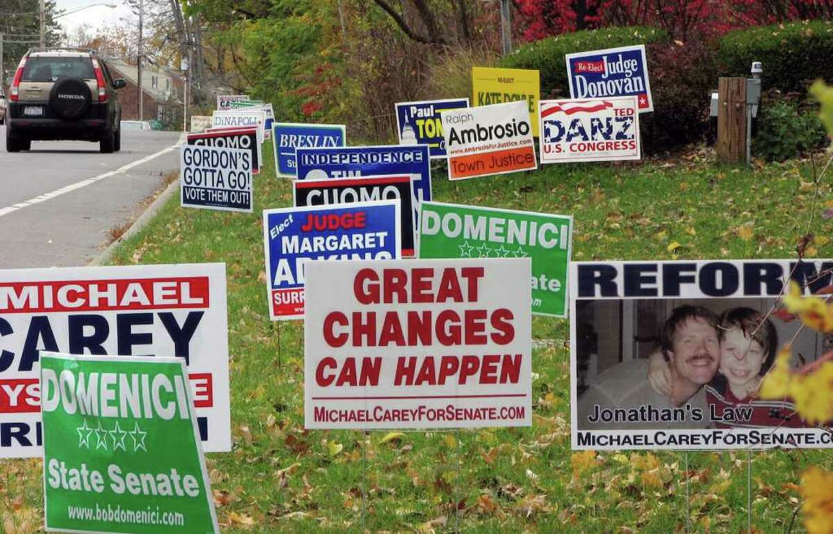 Political signs line the side of the road along Delaware Ave. in Delmar, NY on Monday, Nov. 1, 2010. (Paul Buckowski / Times Union)