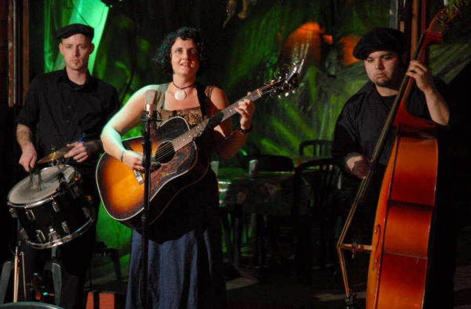 Drummer Patrick Wheeler, from left, Hilary Sloan and bassist Nick Gaitan perform at the Last Concert Cafe. Photo: Dave Rossman, For The Chronicle