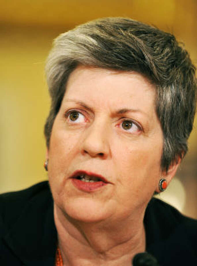 "Homeland Security Secretary Janet Napolitano testifies before the House Homeland Security Committee hearing on the ""President's FY2012 Budget Request for the Department of Homeland Security"" at the Canon House Office building in Washington, DC, on March 3, 2011. Photo: JEWEL SAMAD, AFP/Getty Images"
