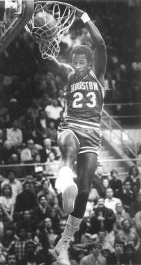 """Clyde """"The Glide"""" Drexler earned one of the most appropriate nicknames of all time by bringing an elegance to his frequent aerial assaults. Photo: Chronicle File, ALL"""