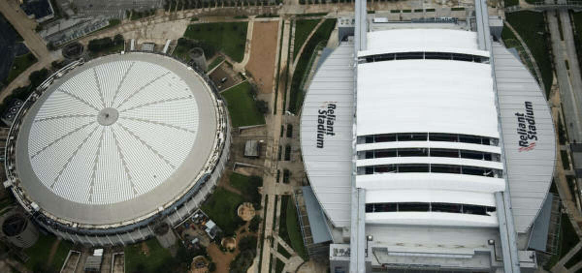 Five panels are missing from the roof at Reliant.