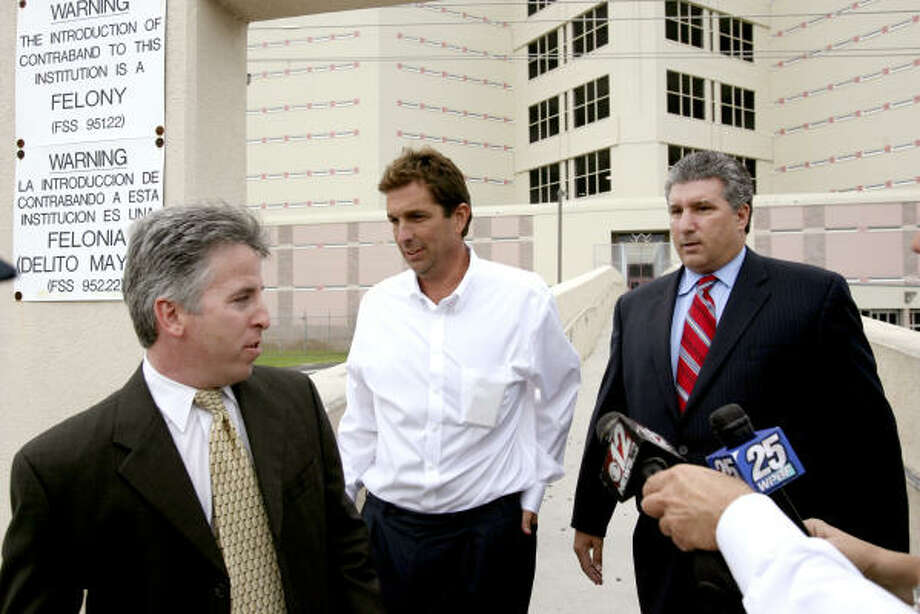 John Goodman, center, shown with attorneys Mark Shapiro, left, and Guy Fronstin, is released from the Palm Beach County Jail in West Palm Beach Wednesday after being arrested in the DUI death of Scott Wilson. Photo: Gary Coronado, The Palm Beach Post