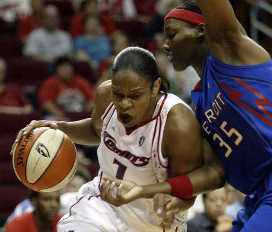 Tina Thompson (7) said after the defeat that the Comets playing not to lose instead of playing to win. Photo: Jessica Kourkounis, Chronicle