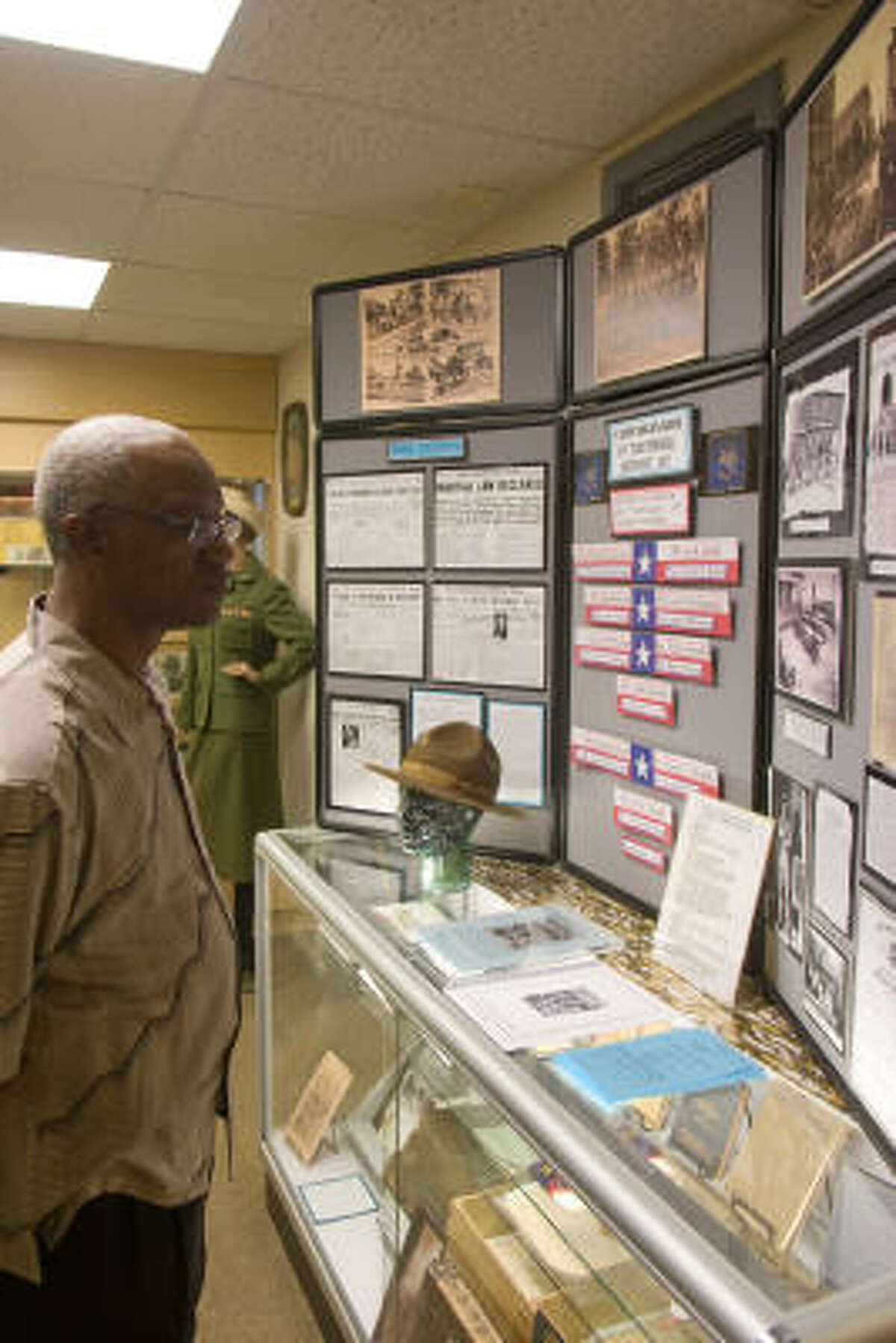 Nat McClinton was among those who attended a recent open house for the Camp Logan exhibit at the Buffalo Soldiers National Museum, 1834 Southmore.