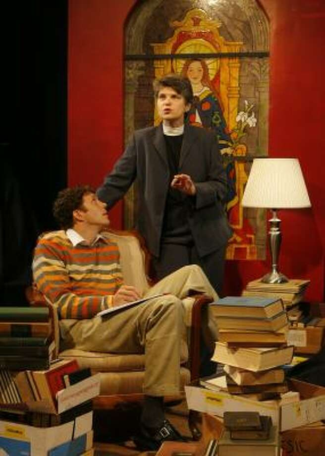 Justin Doran, left, stars as Brandt and Rebecca Greene Udden stars as Hannah in Main Street Theater's production of Keith Bunin's play The Busy World Is Hushed. Photo: STEVE CAMPBELL, CHRONICLE