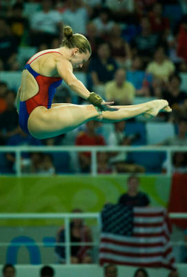 Laura Wilkinson of The Woodlands dives during the women's 10 meter platform preliminary competition at the 2008 Summer Olympic Games on Wednesday in Beijing. Photo: Smiley N. Pool, Houston Chronicle
