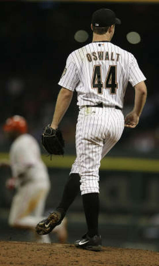 Roy Oswalt (shown Thursday) is 4-4 with a 5.61 ERA. Fifty-five National League pitchers had worked enough innings entering Friday to qualify for the ERA title. Only five have higher ERAs than Oswalt, who made the mistake of spoiling Astros and their fans, columnist Steve Campbell writes. Photo: Karen Warren, Chronicle
