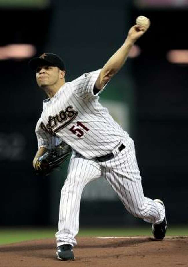 Wandy Rodriguez threw eight scoreless innings and got the win against the San Diego Padres. Photo: Bob Levey, AP