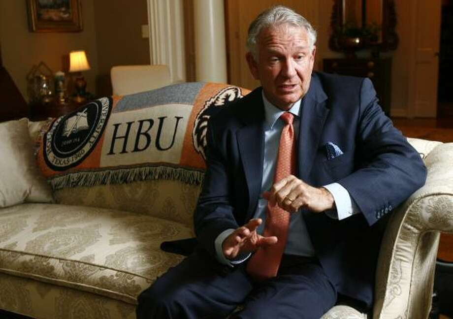 Houston Baptist University President Robert B. Sloan Jr., said a football team would bond the students to the university and would help increase enrollment. Photo: Nick De La Torre, Chronicle