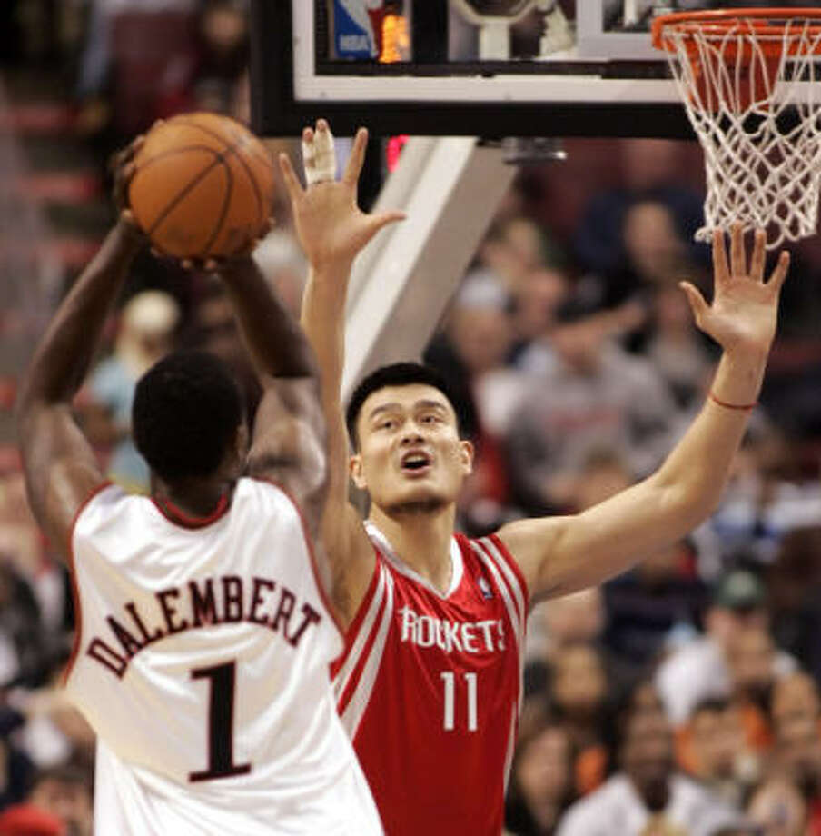 Yao Ming and the Rockets picked up their sixth win in seven games. Photo: Tom Mihalek, AP
