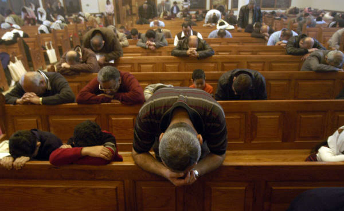 Hundreds of Coptic Christians gather on Sundays at St. Mary and Archanger Michael for a four-hour service. More than 600 Coptic families from Egypt have settled here since 1968.