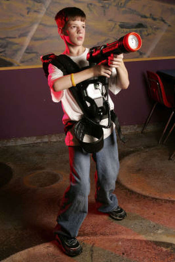 Eleven year-old Sam Wismer at Laser Quest. Photo: Chronicle File