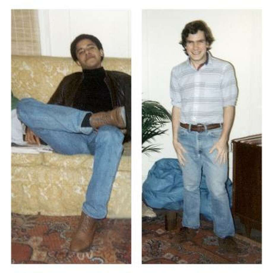 In this personal photo combo released by Phil Boerner is shown Boerner, right, and his college roommate, Barack Obama, in their New York City apartment in the early 1980s. Boerner made the photo of Obama and Obama made Boerner's photo. Photo: AP