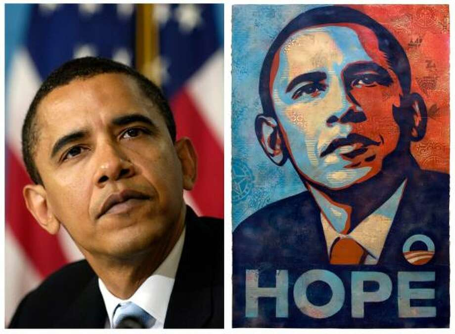 Shepard Fairey's poster of President Barack Obama, right, is shown for comparison with this April 27, 2006 file photo of then-Sen. Barack Obama by Associated Press photographer Manny Garcia at the National Press Club in Washington. Fairey has acknowledged, the poster is based on the AP photograph. Photo: Manny Garcia, Associated Press