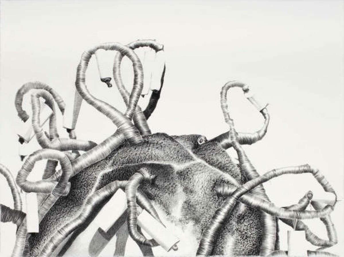 Rabéa Ballin's Untitled (2009), black Prisma on paper.