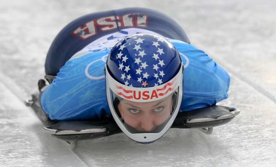 Noelle Pikus-Pace of the United States takes her first run of the skeleton training heats at Whistler. Photo: LEON NEAL, AFP/Getty Images