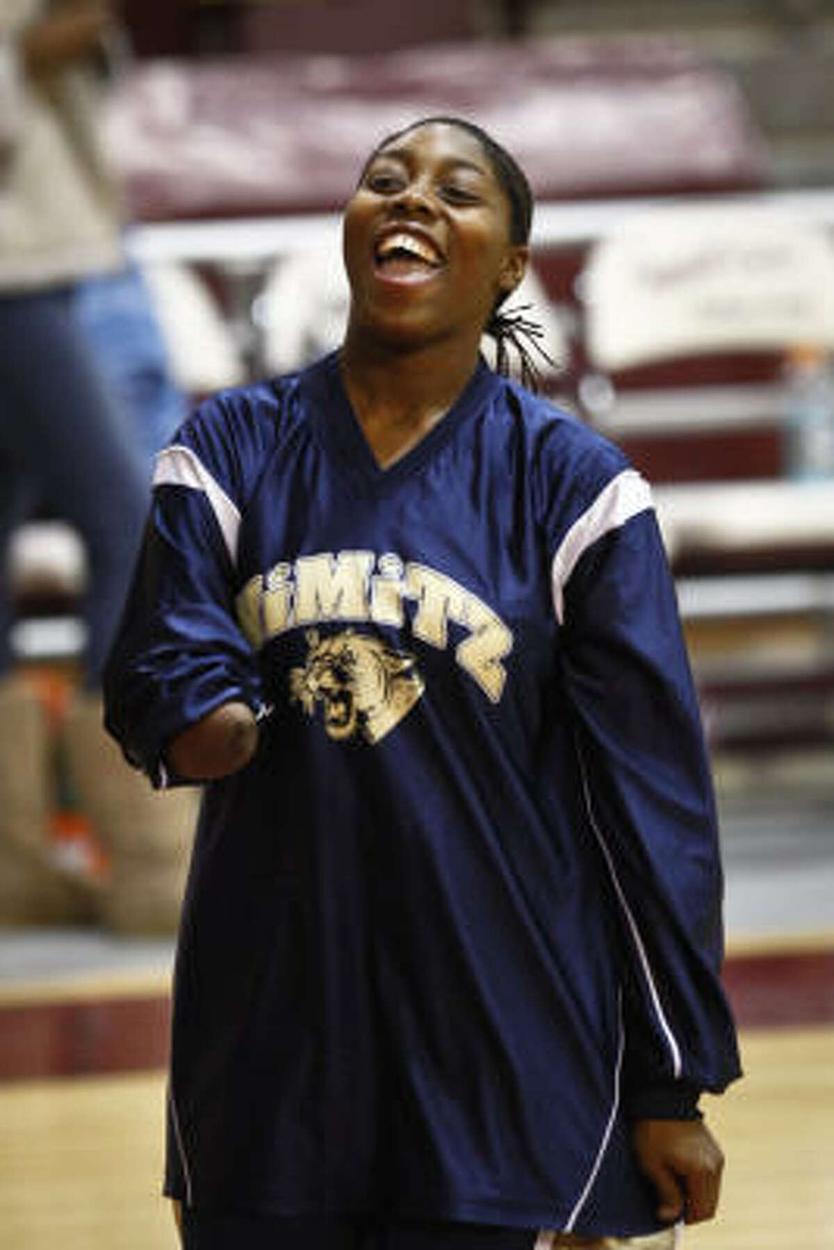 Nimitz senior Jesse Landry has played a key role for her team this season, not held down by opponents or her handicap.