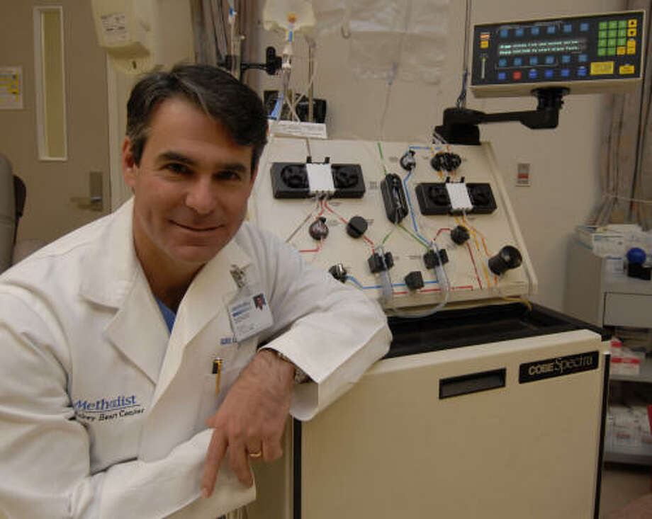 Dr. Guillermo Torre, director of heart failure and cardiac transplantation at the Methodist DeBakey Heart Center, treats patients using plasma exchange. Torre aims to remove from the plasma proteins created by the immune system that can attack a damaged heart. Photo: Tony Bullard, For The Chronicle