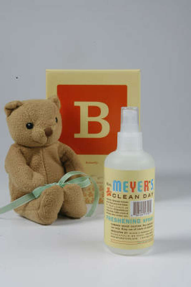 The new Baby Blossom scent from Mrs. Meyer's Clean Day comes in a box with a miniature stuffed bear. Photo: Steve Campbell, Chronicle