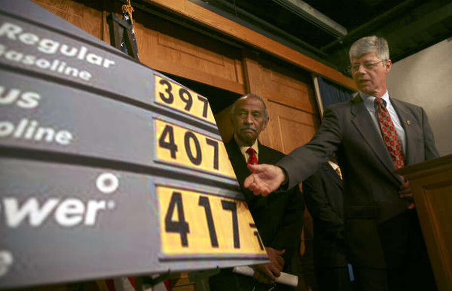 House Energy and Commerce Committee member Rep. Bart Stupak,D-Mich., right, accompanied by House Judiciary Chairman, Rep. John Conyers, D-Mich.,announced that they are submitting legislation to prevent price gauging at the gas pump. Photo: Lawrence Jackson, AP
