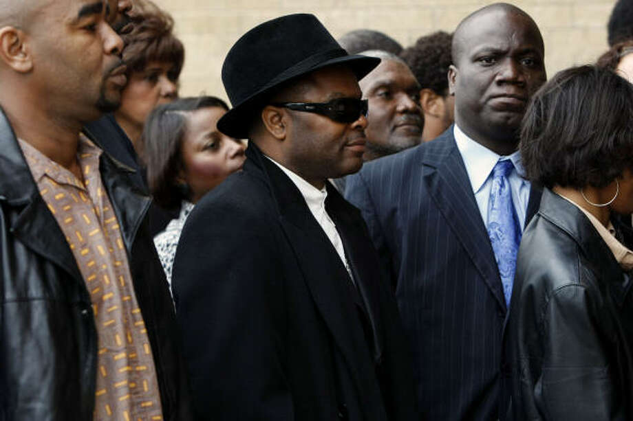 """James Prince, center, shown at the funeral last week for Texas rapper Pimp C, says he was falsely portrayed as a """"murderer."""" Photo: Johnny Hanson, Chronicle"""