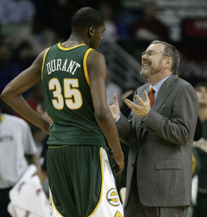 Seattle coach P.J. Carlesimo said he has had to play rookies Kevin Durant and Jeff Green more than he might like but adds that they are learning fast. Photo: Bill Haber, AP